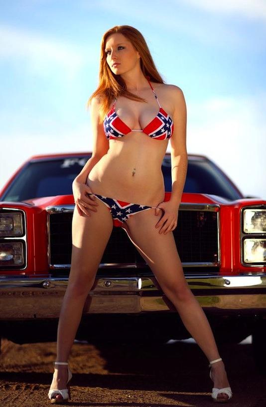 Naked girl with rebel flag